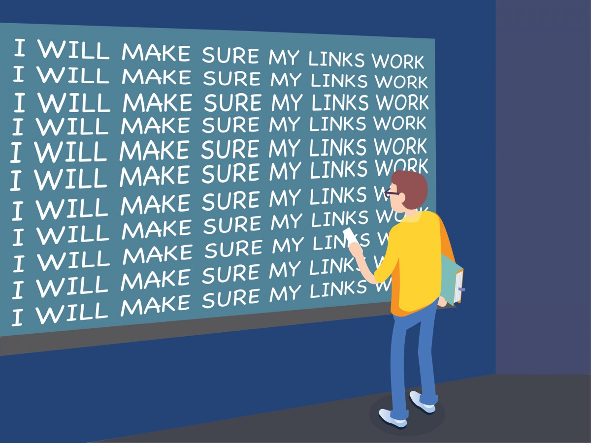 "Developer in front of chalkboard writing ""I will make sure my links work."""
