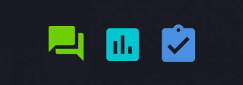 Icons displaying speech bubbles, a graph and a clipboard