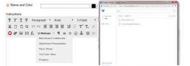 Formatting interface in Dropbox user interface