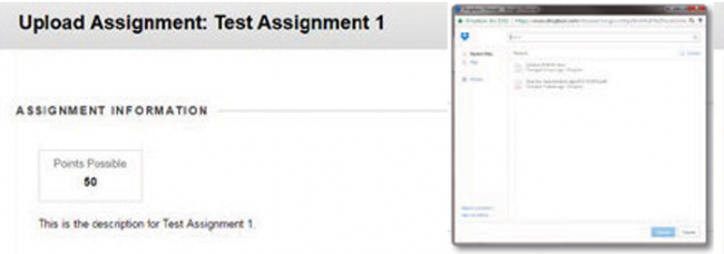 """Upload Assignment"" window in Dropbox user interface."