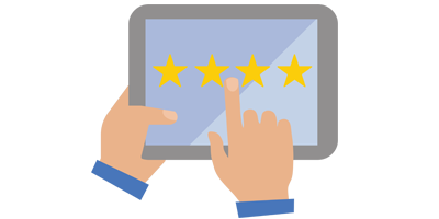 Hands holding tablet with 4 stars.