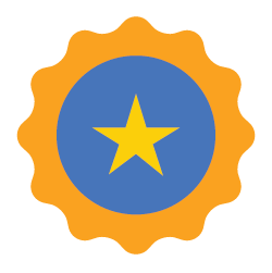 Badge with gold star.