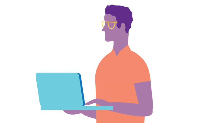 Illustrated man holding laptop