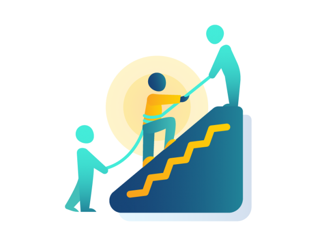 Representation of people helping someone scale a mountain