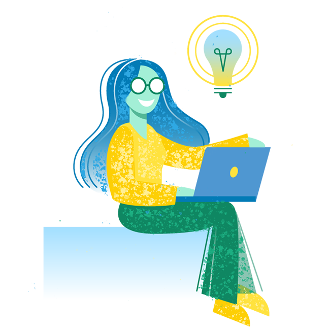 Woman using a laptop and getting an idea