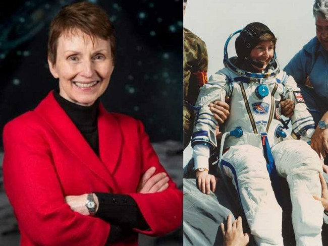 Helen Sharman now and in her astronaut outfit from 1991